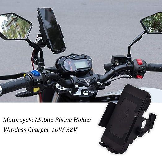 Soporte para teléfono móvil con cargador inalámbrico para motocicletas de 32 V, soporte universal para GPS de 10W para ciclismo, soporte deportivo ...