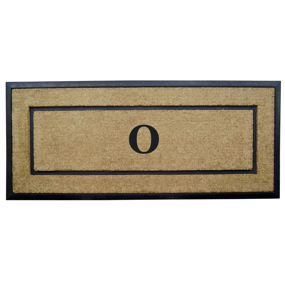 Nedia Home Single Picture Black Frame with Coir Rubber Border Dirt Buster Doormat, 24 by 57-Inch, Monogrammed O