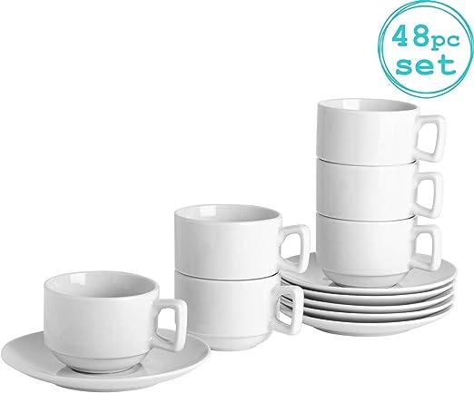 Tazas y platillos apilables 200ml - Set de 24 Tazas 24 Platillos: Amazon.es: Hogar