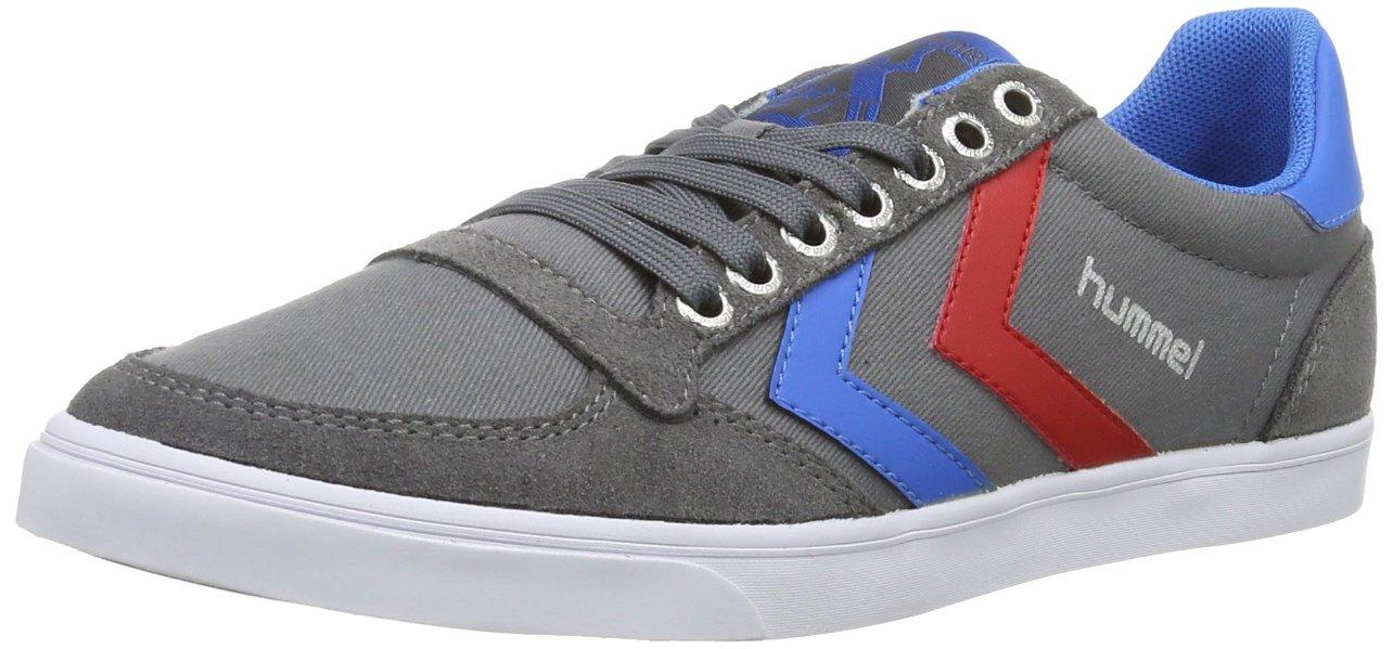 Hummel Unisex-Erwachsene Slimmer Stadil Niedrig Sneaker Grau (Castle Rock/Ribbon ROT/Brilliant Blau)