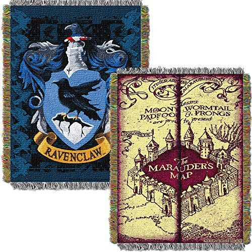 Harry Potter Marauders Map with Ravenclaw Crest Woven Tapestry Throw (48inx60in) (Marauders Map Throw)