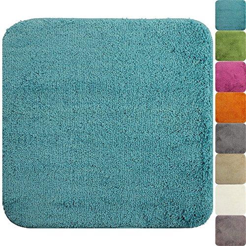 WC Vorleger Lasalle 50 x 50 cm in Türkis Premium Badvorleger 1200 g/m² - weitere Farben & Größen wählbar