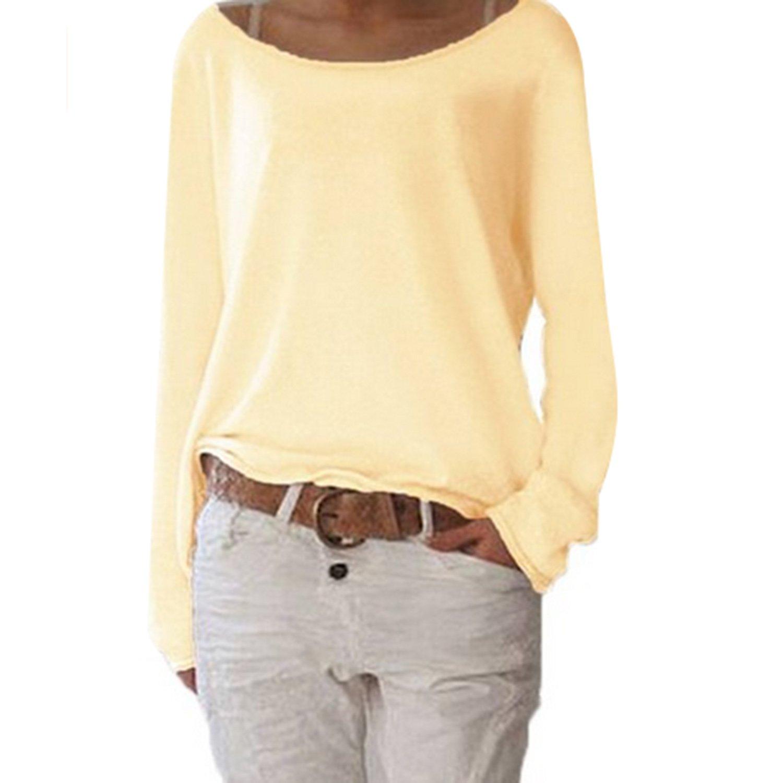 Damen T-Shirt Langarm Rundhals Ausschnitt Casual Sweatshirt Oversize Frauen Oberteile Tops