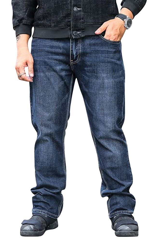SATUKI Jeans for Men Loose Fit,Relaxed Fit Straight Leg Stretch Denim Jeans Pants Plus Size Big /& Tall