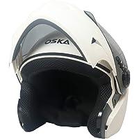Steelbird SB-41 Oska Classic Flip Up Helmet Full Face Bike Riding Helmets For Man(620MM XLarge, Classic White With Smoke Visor - Geared With Flip Up Down Feature -Aerodynamics Design)