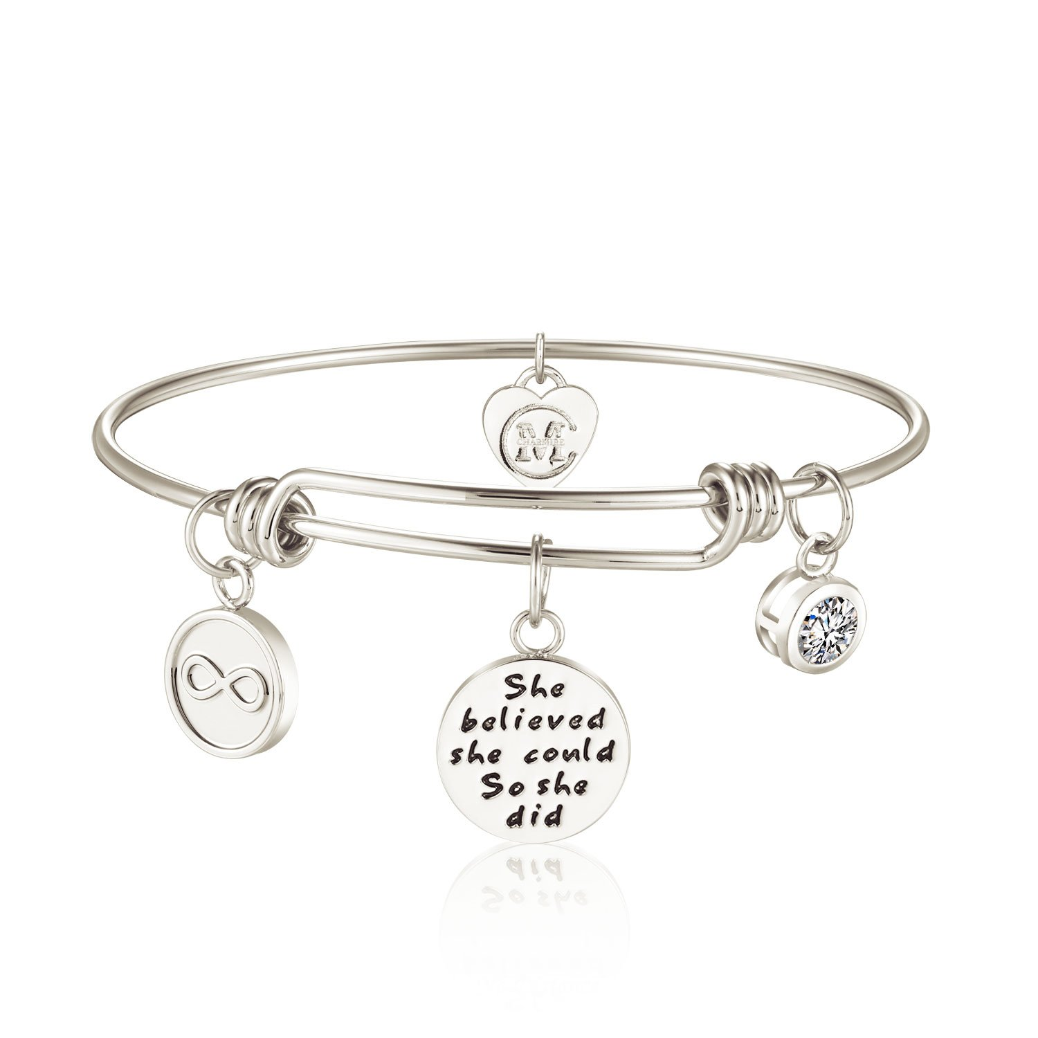 Women's Charm Wire Bangle She Believed She Could So She Did Inspirational Jewelry Girls Expandable Bracelets Christmas Xmas Gifts Charmire CMB002RG
