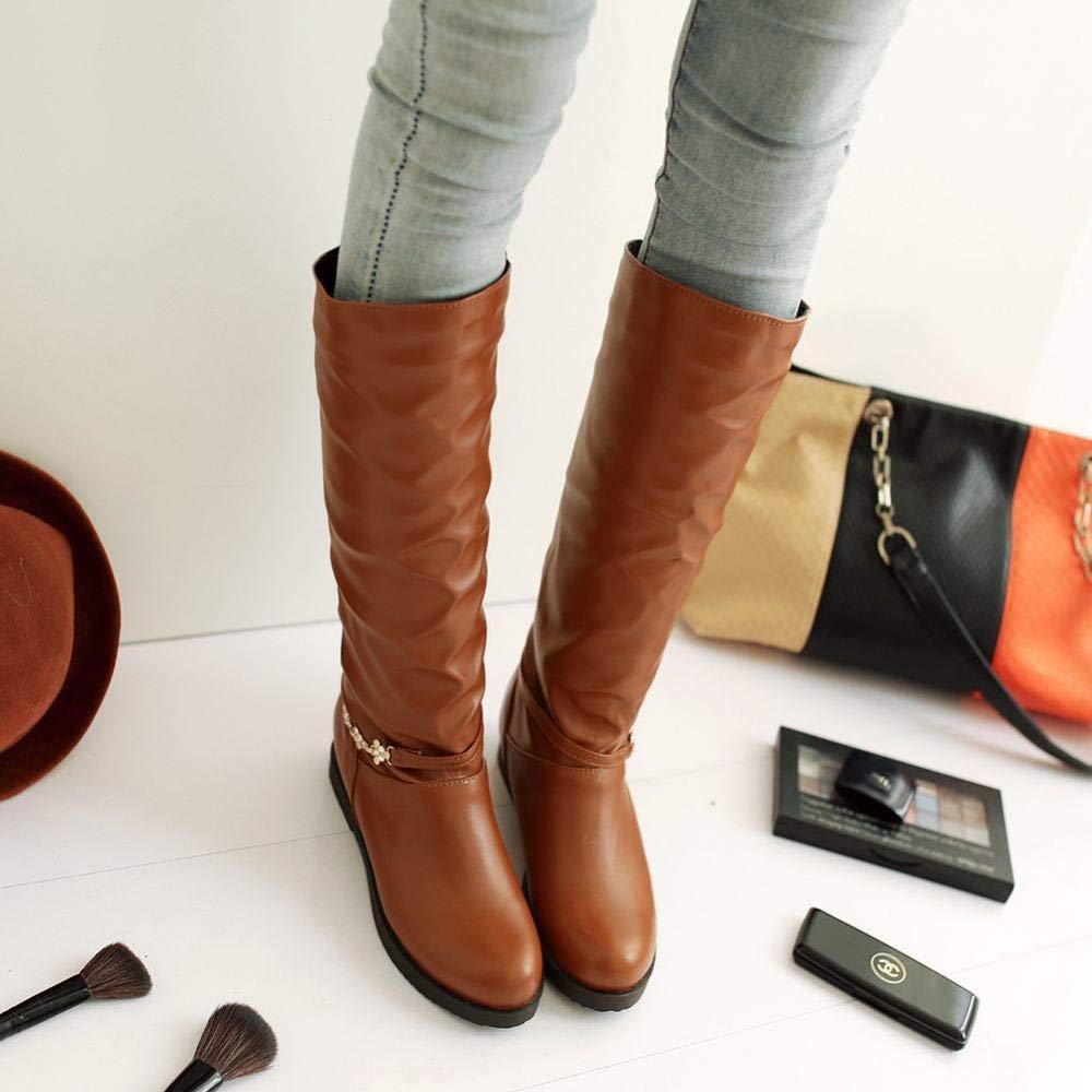 zj Botas De Mujer - Otoño E Invierno Botas De Mujer De Tubo Alto/Botas De Caballero/Botas De Aumento Casual/Zapatos De Mujer De Talla Grande 36-43