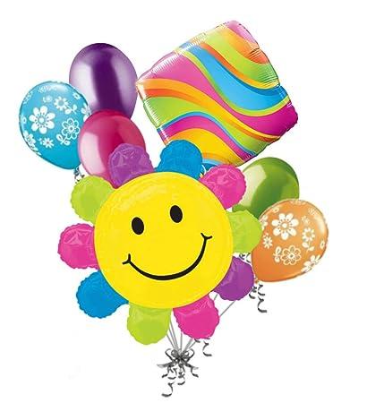 Amazon.com: Jeckaroonie Balloons 7 pc Bright Daisy Happy ...