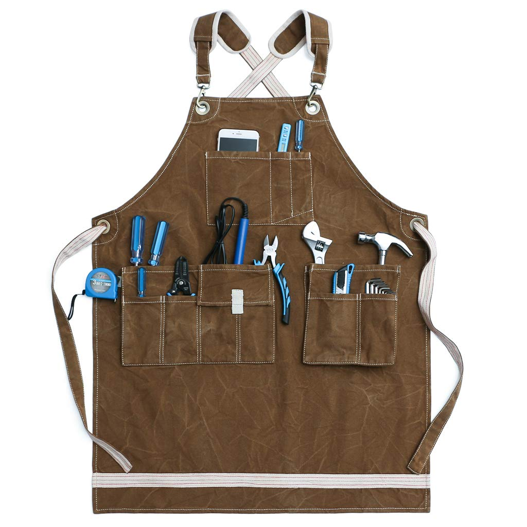 Jeanerlor Washed Shop Apron 12oz Water-Resistant Work Aprons for Men Heavy Duty Waxed Canvas Tool Apron with Pockets Thick shoulder pad, Cross-Back Straps Adjustable L to XXXL (Coffee) by Jeanerlor
