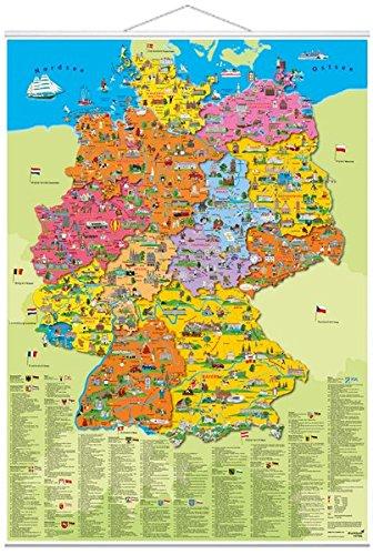 """Poster """"Deutschland Politisch"""": Karte mit Metall-Beleistung"""