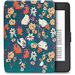 WALNEW Amazon Kindle Paperwhite Case Lightest and Thinnest Premium Leather Smart Protective Cover for Kindle Paperwhite with Auto Wake/Sleep Function, B Flower