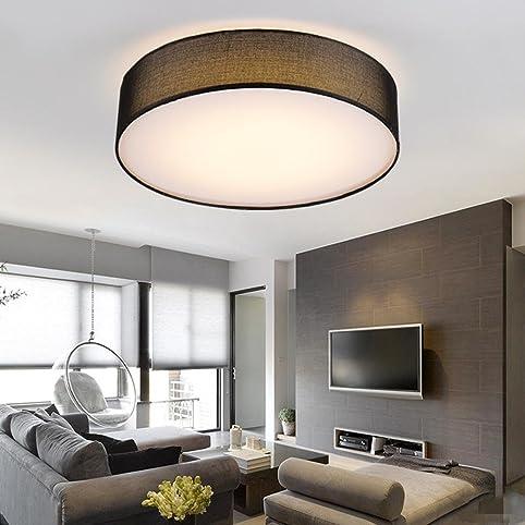 LED Stoff Deckenleuchte Leuchte Modern Runde Elegant Schlafzimmer Deckenlampe Schwarz Textil Stoffschirm Acryl Metall Decke Lampe
