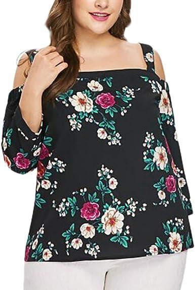 Camiseta Mujer Verano 2018, Camiseta con Estampado de Flores y Estampado de Flores para Mujer de Verano Blusa de Tirantes de túnica: Amazon.es: Ropa y accesorios