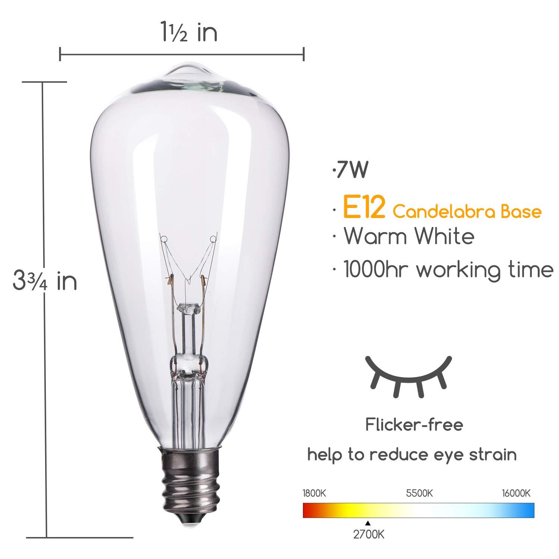 25 Pack Edison Replacement Light Bulbs 7 Watt E12