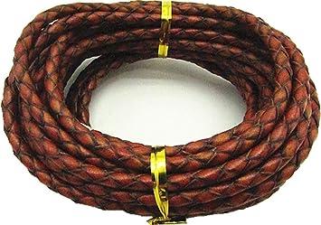 Dark Red 3.0mm Braided Leather Cord Round Braided Leather Cord Leather Working Cord String Cord 5Meter