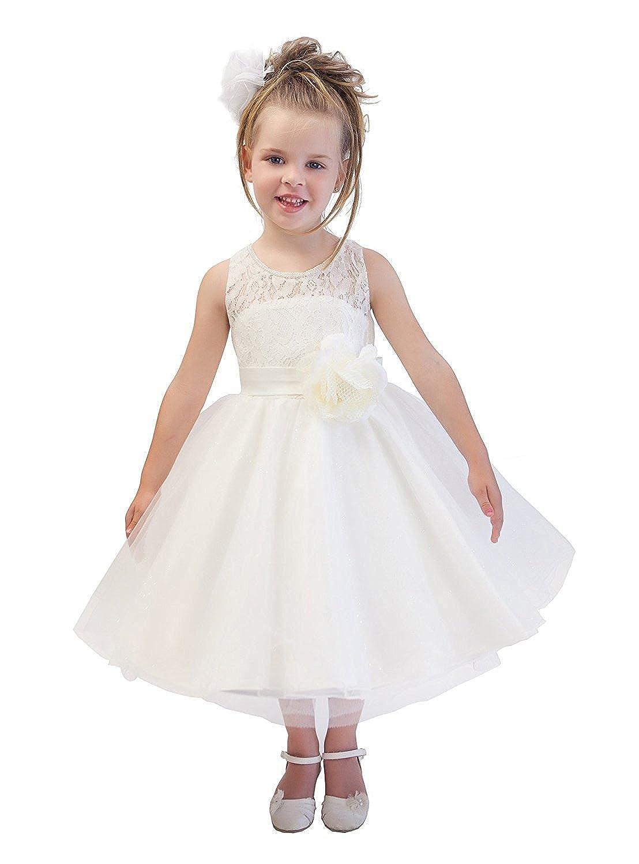 Blanc 13 ans KekeHouse® Robe De Fille De Fleur Blanc Robe De Cérémonie En Dentelle Pour Bébé Filles Robe Sans Manche Taille Empire