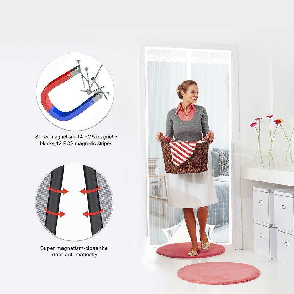 Convient /à la Taille Blanc Lair Peut circuler Librement MODKOY Moustiquaire Porte Mailles Ultra Fine 70x180cm Adsorption magn/étique Pliable