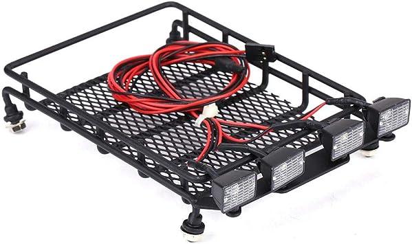 Dilwe Rc Auto Dachgepäckträger Dachträger Gepäckträger Mittlerer Größe Mit Quadrate Led Leuchten Für Axial Scx10 1 10 Ferngesteuerte Autos 2 Weiß 2 Rot Spielzeug