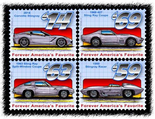 Stingray Postage Stamp Series - Block of Four (1963 Corvette Stingray Split Window)