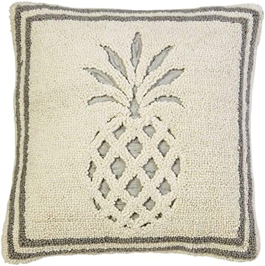 Mud Pie RECESSED Pineapple Hook Pillow, White