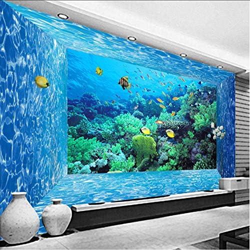 Wkxzz 壁の背景装飾画 壁紙壁画3D立体スペースアンダーウォーターワールドリビングルームベッドルーム水族館壁の装飾-400X280Cm