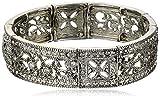 1928 Jewelry ''Vintage Lace Silver-Tone Crystal Filigree Stretch Bracelet