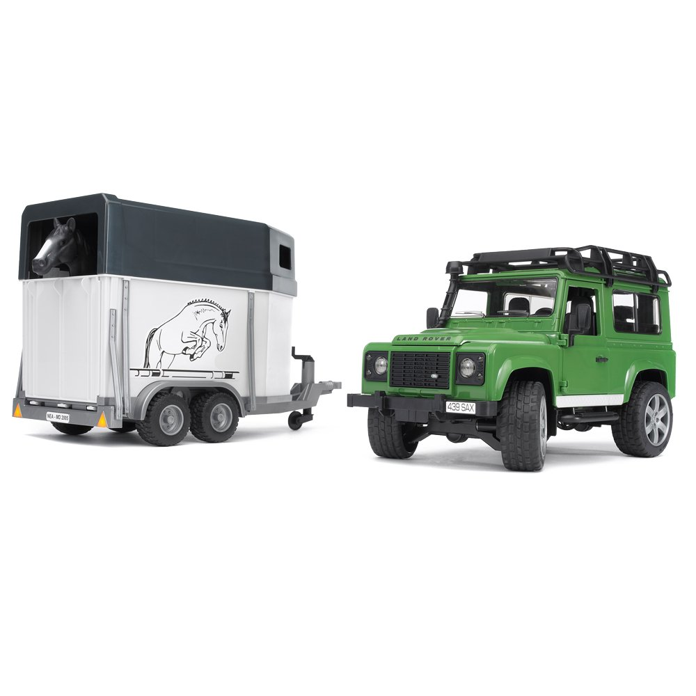 Bruder Land Rover Defender Station Wagon with Horse Trailer and ...