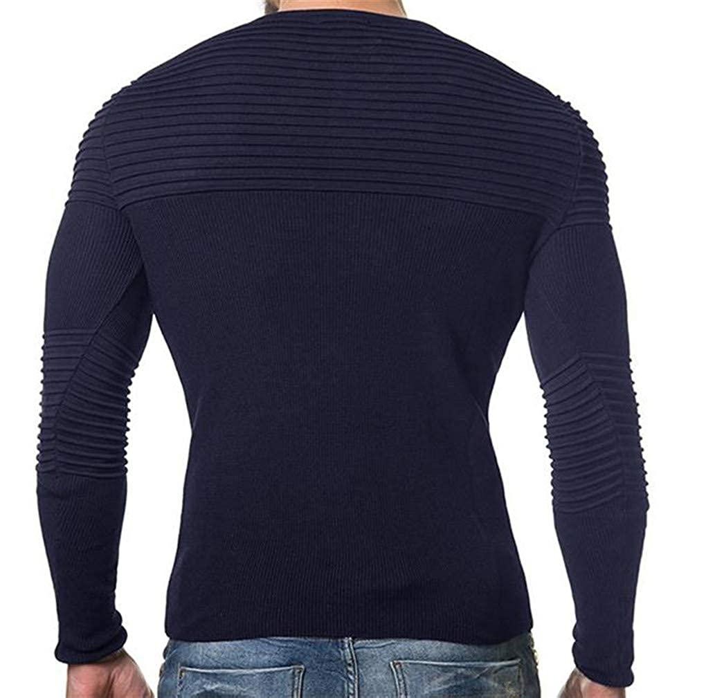 Cromoncent Mens Solid Striped Crewneck Pleated Knitted Pullover Jumper Sweaters