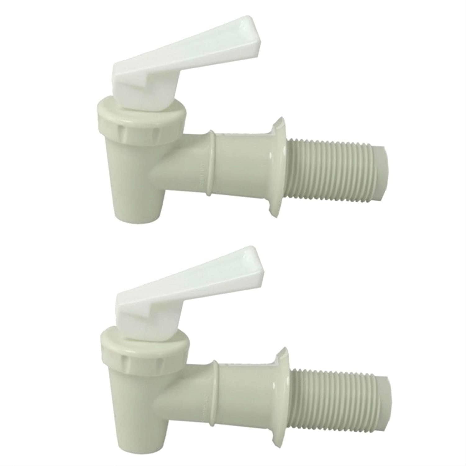 Plastic Faucet Twin-pack, White, Spigot (3/4 Inch), BPA Free, Water/ Beverage Dispenser, Gravity Feed, Made USA, Lab Faucet, FDA - Approved, with Washers and Nuts