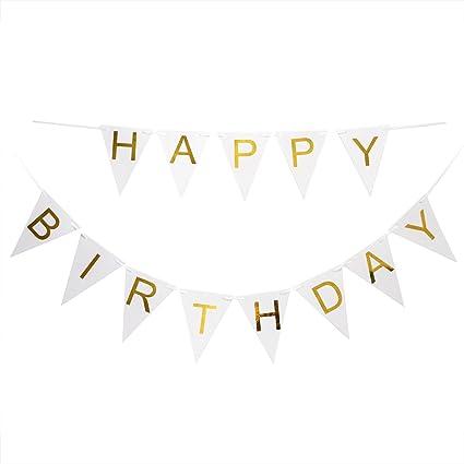 amazon com innoru happy birthday banner triangle sign gold letter