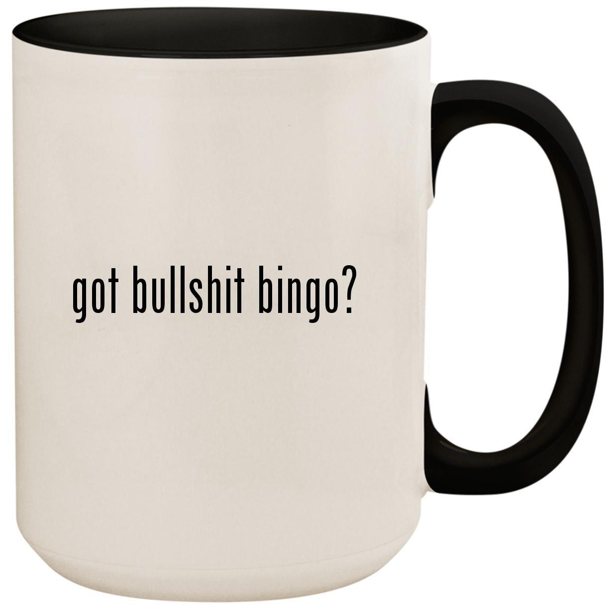 got bullshit bingo? - 15oz Ceramic Colored Inside and Handle Coffee Mug Cup, Black