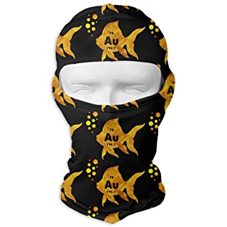 Periodic Table Elemental Gold Fish Balaclava UV Protection Windproof Ski Face Masks for Cycling Outdoor Sports Full Face Mask Breathable