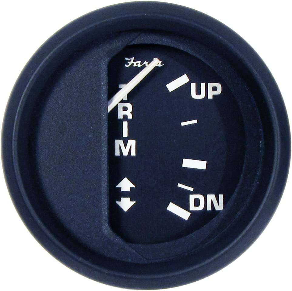 "1 - Faria Euro Black 2"" Trim Gauge (Mercury/Mariner/Mercruiser/Volvo DP/Yamaha-2001 and newer)"