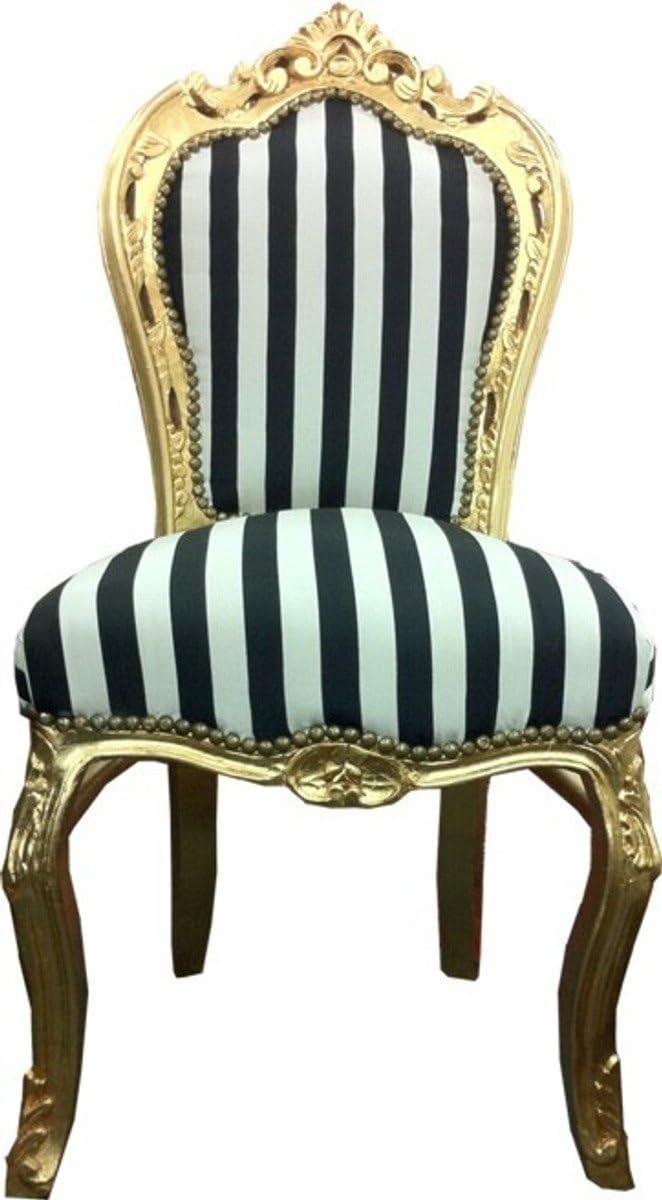 Baroque Dining Room Chair Black White Stripes Gold Amazon De Kuche Haushalt