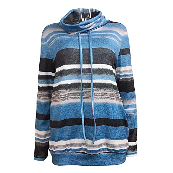 a56cff3abfc86 XiuG Women Casual Cowl Neck Sweatshirts Striped Long Sleeve Tops Pullover  Sweatshirt with Pockets Pullover Hooded