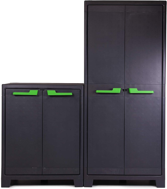 Lagerschrank 6 Einlegeb/öden B/üroschrank Set 160x44x182cm abschlie/ßbar Griffe Ondis24 Kunststoffschrank Moby High/&Low