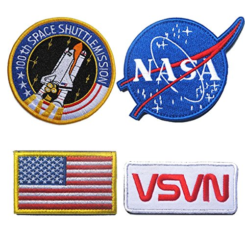 Bundle 4 Pieces Iron on or Sew on Military Tactical Morale Badge Emblem Patch - NASA Logo,100th Space Shuttle Mission, Golden Red USA Flag, NASA ()
