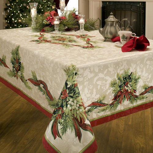 Benson Mills Christmas Ribbons Engineered Printed Fabric Tablecloth, 60-Inch-by-120 Inch -