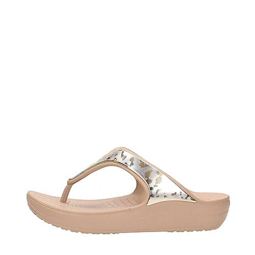 ab06daa6c6d7 crocs Women s Sloane Metallic GRPH Flip W Gold Sneakers-W8 (205132)  Buy  Online at Low Prices in India - Amazon.in