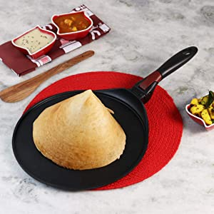 Wonderchef Click Non-Stick, PFOA-Free Aluminum Indian Cooking Detachable Handle Dosa Tawa Crepe Pan, 30cm, Black