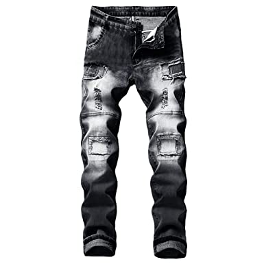 NUWFOR Mens Stretchy Ripped Skinny Biker Jeans Destroyed ...