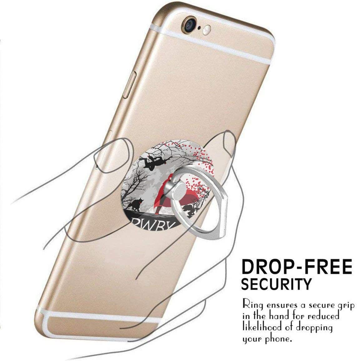 LUCY FOSTER RWBY 360 Degree Rotating Ring Stand Grip Mounts Phone Holder for Any Smartphones iPhone Or Tablets
