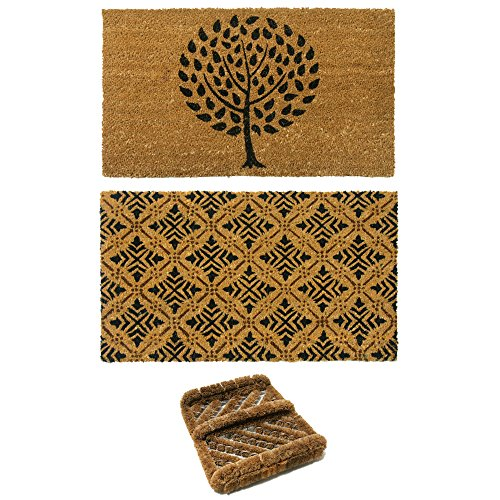 Rubber-Cal 2 French Country Coco Coir Doormats and 1 Boot Scraper - French Country 2 Door