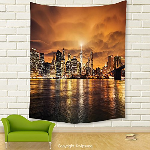 Vipsung House Decor Tapestry_New York Manhattan At Sunset New York City View From Brooklyn Lights Reflections Seaport Scenery Print Decor_Wall Hanging For Bedroom Living Room Dorm (Halloween Dog Parade Brooklyn)