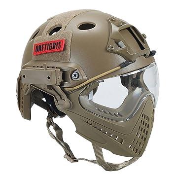OneTigris F22 Casque Intégré Tactique Avec le Système De Protection Faciale  Amovible Pour Airsoft (Tan 0fd9b6fd48a6