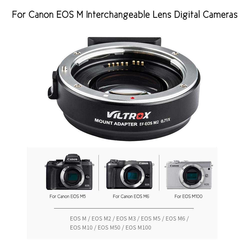 VILTROX EF-EOS M2 Auto Focus Lens Mount Adapter Ring 0.71X Focal Lenth Multiplier USB Upgrade for Canon EF Series Lens to EOS EF-M Mirrorless Camera for Canon EOS M/ M2/ M3/ M5/ M6/ M10/ M50/ M100 by VILTROX (Image #4)
