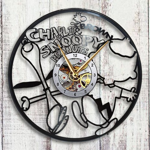 Charlie Brown & Snoopy Vinyl LP Record Wall Clock Wall Decals Gift Sticker