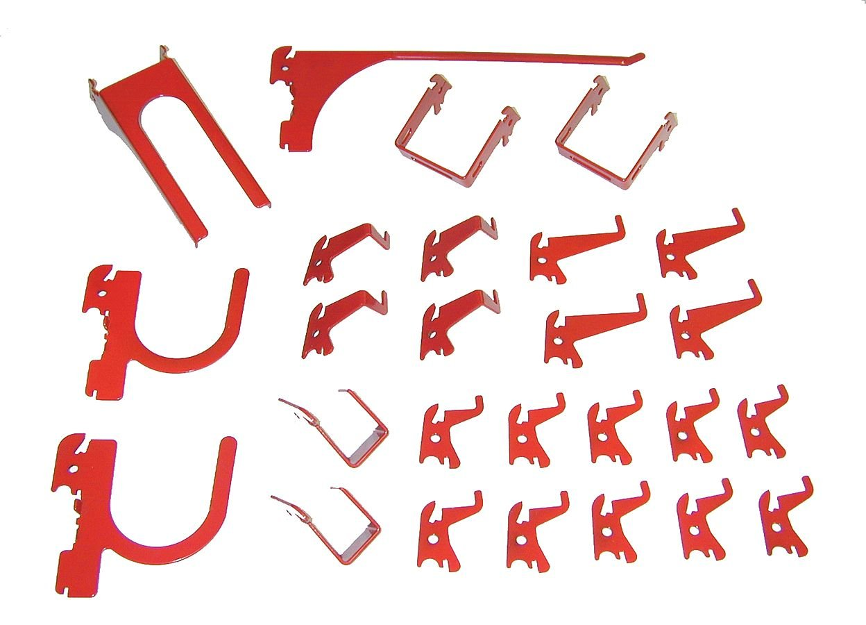 35-K-DLXRD Slotted Tool Board Hook Kit Wall Control Red 26 Piece