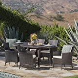 Great Deal Furniture Viceroy   7 Piece Wicker Oval Dining Set with Beige Cushions   Perfect For Patio   in Multibrown