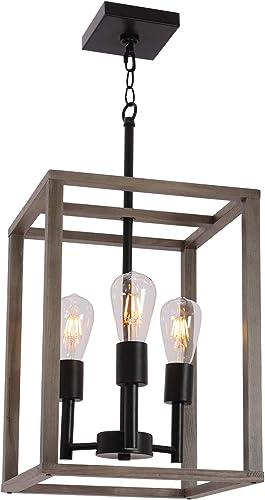 VINLUZ 3 Light Farmhouse Chandelier Pendant Lamp Black Wood Frame Accents Hanging Flush Mount Ceiling Light Simply Decoration